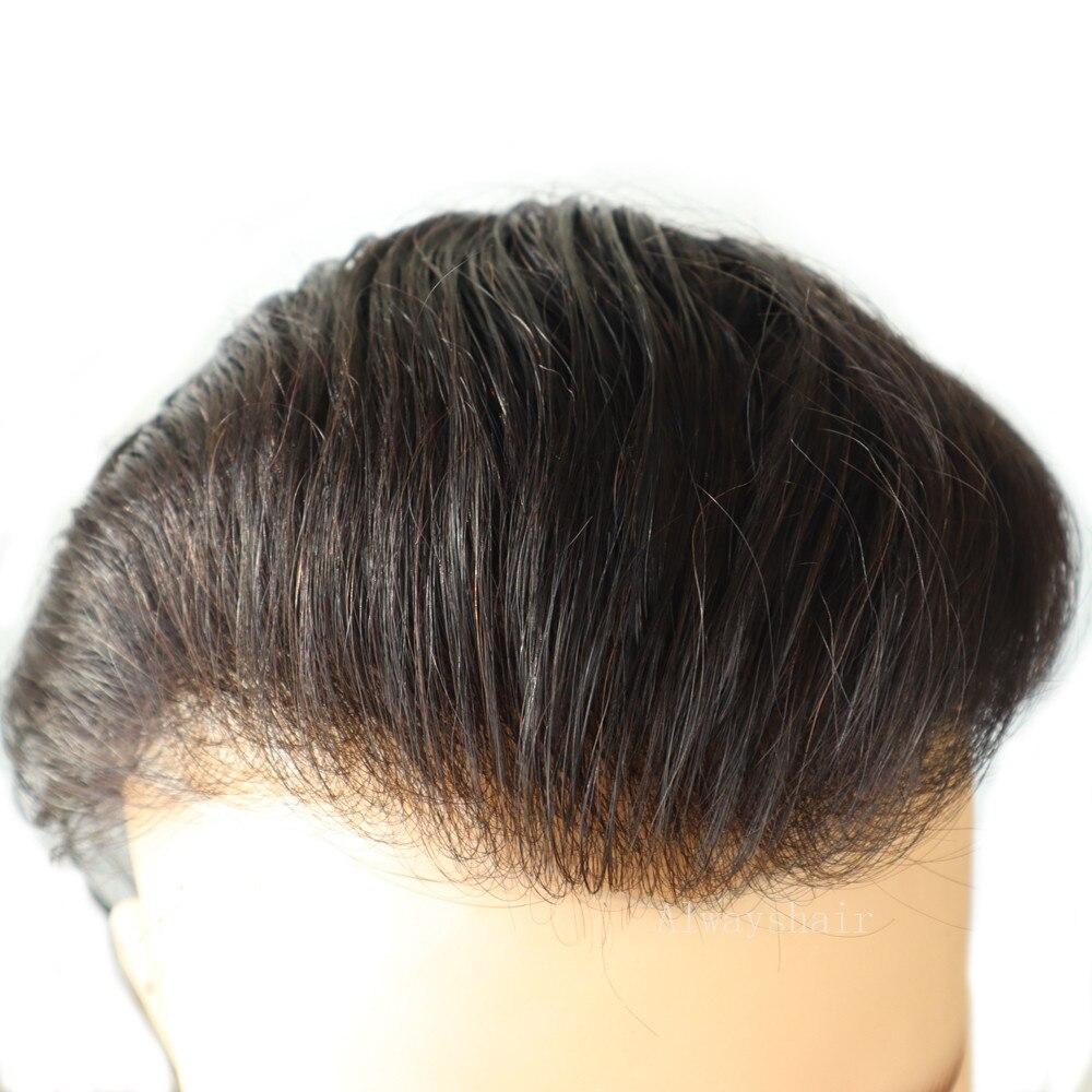 Сжатого природного газа-супер тонкие кожные Для мужчин парик из натуральных волос волосы Индии Для мужчин парик