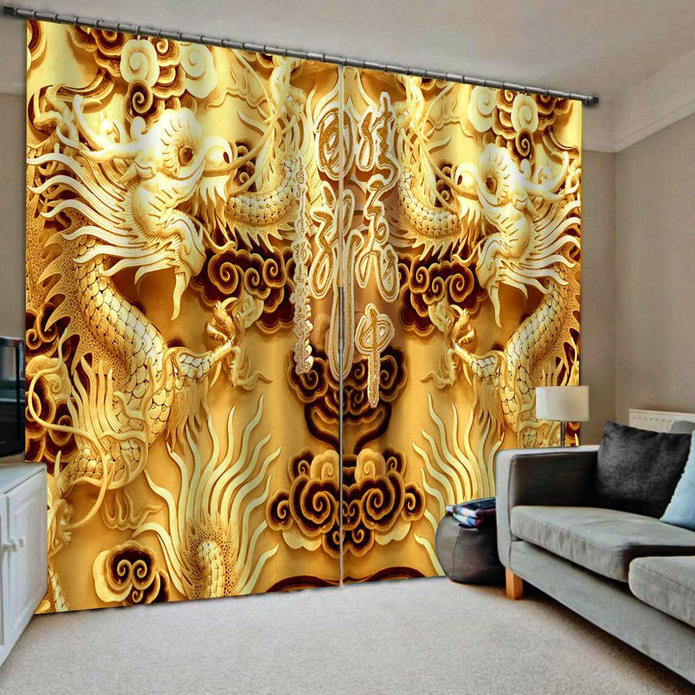 Golden Curtains 3D Blackout Curtains Living Room Bedroom Hotel Window Curtains   Decoration Curtains