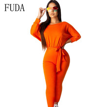 FUDA Women Jumpsuits Rompers Long Sleeve Casual Playsuits with Belt Ladies High Quality Black Green Orange Female Trousers halloween black orange feather pettiskirt with sparkle spider web print orange long sleeve top with orange lacing mamw305
