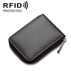 Antymagnetyczna pozycja Doka będzie pakietem kart o dużej pojemności pakiet kart z włókna węglowego Rfid protector małe drobne portfele w Artykuły do samoobrony od Bezpieczeństwo i ochrona na
