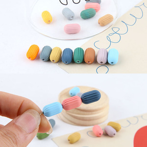 DIY hand jewelry accessories makaron series rubber paint stripe column perforated resin bead earrings accessories materials(China)