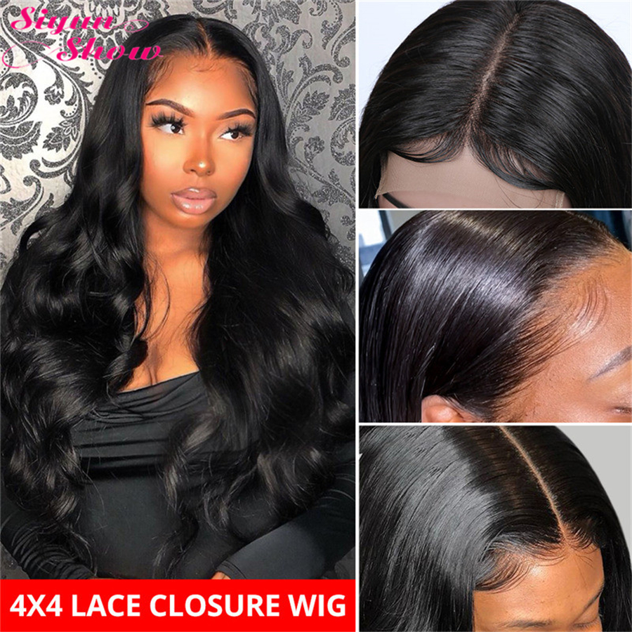Siyun Show Raw Indian Hair Body Wave Wig 4x4 Closure Wig Pre Plucked With Baby Hair Lace Closure Wig Lacefront Wig Human Hair
