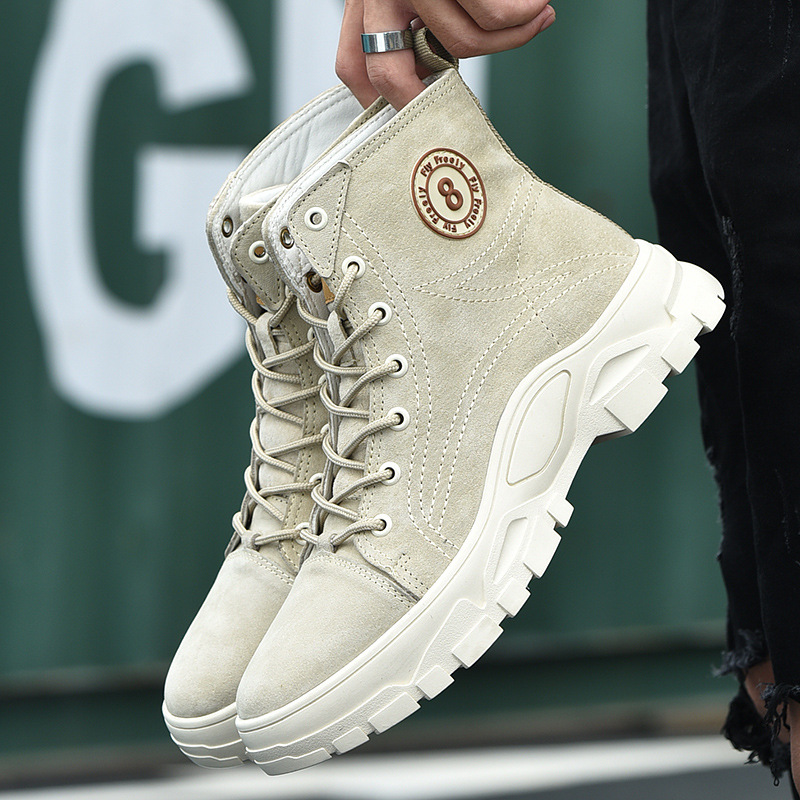 men's Korean version of the trend of Martin boots outdoor casual men's shoes thick bottom increased warm cotton boots