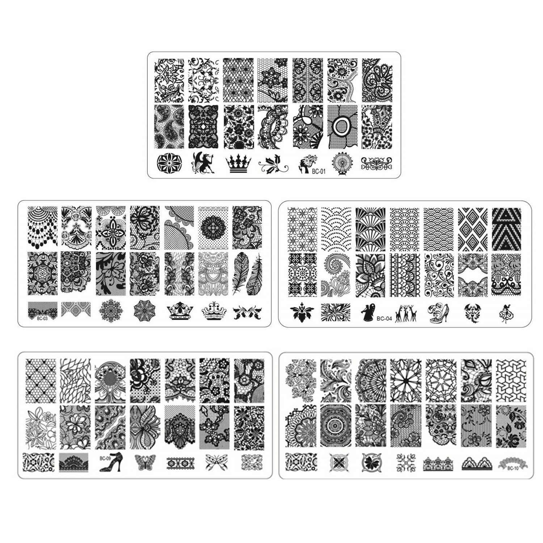 5 pçs moda laço da arte do prego placa de carimbo modelos conjunto para casa profissional salão de beleza iniciantes manicure diy decoração suprimentos
