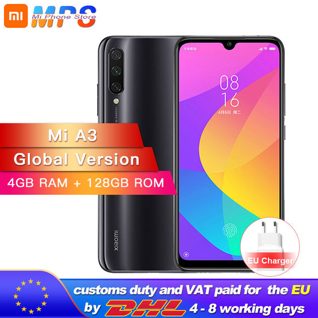 "Versão global xiao mi a3 mi a3 4 gb 128 gb smartphone snapdragon 665 octa núcleo 6.088 ""tela amoled 48mp + 32mp câmera 4030 mah"