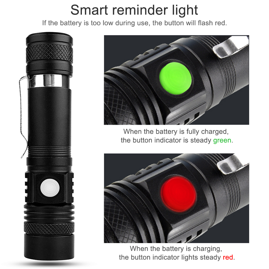 Powerful led flashlight usb rechargeable Zoom torch T6 LED hand lamp 18650 Battery flash light use for Camping Hiking checking