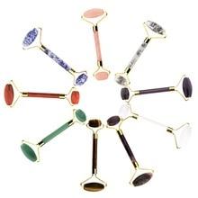 Natürlichen Kristall Jade Rose Quarz Massage Roller Gesicht Körper Entspannen Dünner Massager Anti Falten Schönheit Gesundheit Pflege Werkzeuge Großhandel