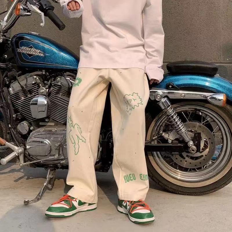 Рабочая обувь на широкую ногу Штаны женские свободные прямые чувство дизайна европейские, американские уличные хип-хоп главных улиц тенден...