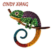 CINDY XIANG Large Lizard Chameleon Brooch Animal Coat Pin Rhinestone Fashion Jewelry Enamel Accessories Ornaments 3 Colors Pick
