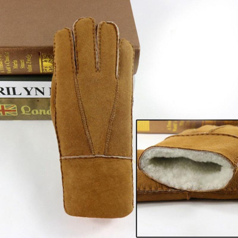 Men Winter Leather Gloves Warm Genuine Sheep Fur Mittens Thermal Fur Cashmere Genuine Woollen Fox Fur Covered Winter Gloves