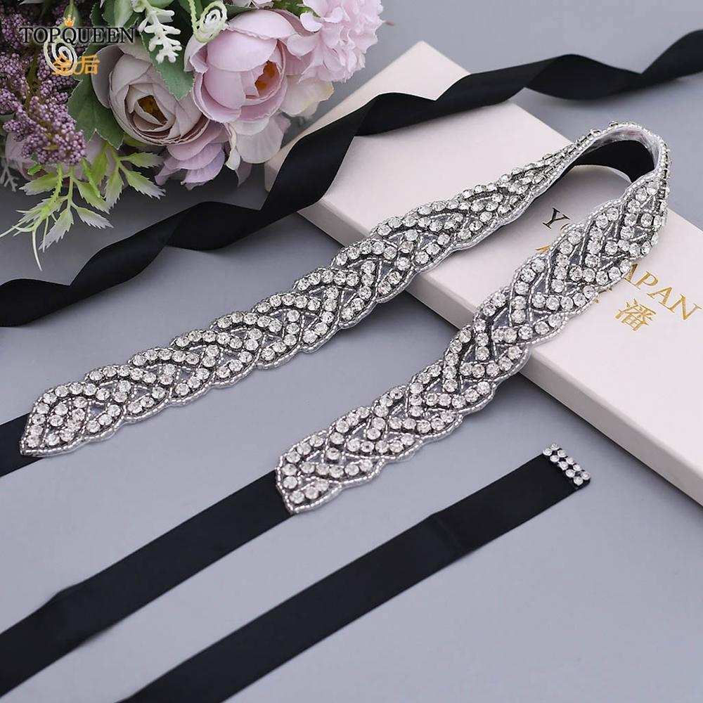 TOPQUEEN S216 Women's Rhinestones Handmade Belt Wedding  Belt Accessories Marriage Bridal Sashes Wedding Bridal Sashs Any Size