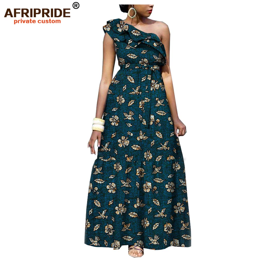 2019 african fashion casual dress for women AFRIPRIDE tailor made one shoulder fit and flare women batik cotton dress A1825111-in Dresses from Women's Clothing    2