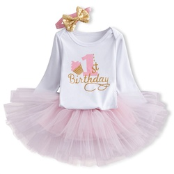 Новинка, одежда для маленьких девочек, платье-пачка с бантом и длинными рукавами на 1 год (Топы + повязка на голову + платье), 3 предмета, одежда,...