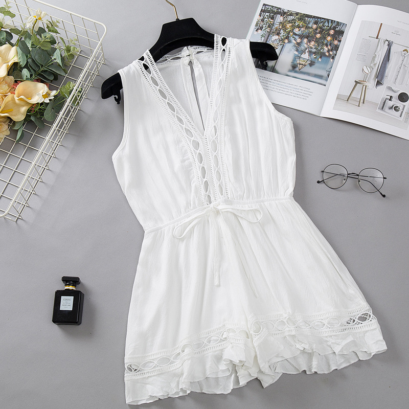 Western Style 2019 New Style Sexy V-neck Sleeveless Lace Joint Waist Hugging Slimming Wide-Leg Onesie Beach Shorts