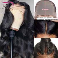 Pelucas de cabello humano con encaje frontal para mujeres negras, pelo de Elva de 13x6, prearrancado con onda corporal de bebé