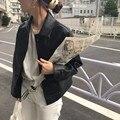 Женское однобортное пальто в Корейском стиле, Элегантное повседневное пальто с длинным рукавом и отложным воротником, Осень-зима