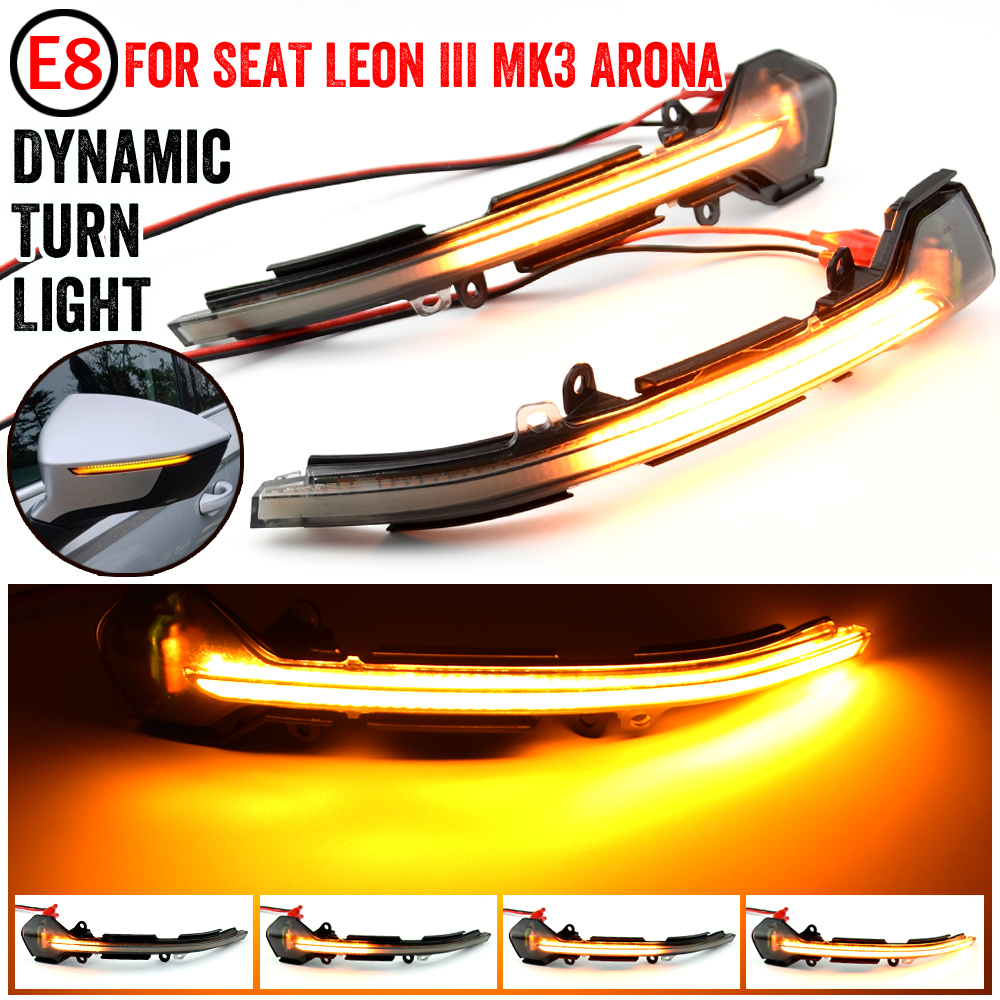 1Pair LED Dynamic Mirror Indicators Repeaters For SEAT LEON 3 III 5F ITV MOT Side Mirror Indicator Sequential Light