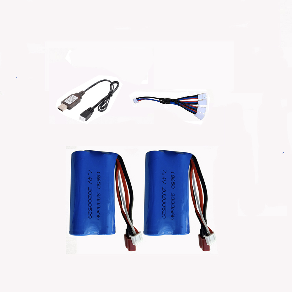 2pcs7.4V <font><b>3000mAh</b></font> <font><b>lipo</b></font> battery For UDI U12A S033g Q1 TK H101 RC Boat car Battery 18650 7.4 V 15C <font><b>2s</b></font> lithium battery image