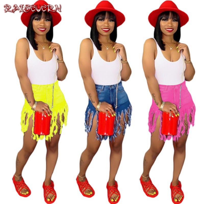 RAISEVERN Hot Summer Women Casual High Waisted Short Mini Button Jeans Short Pants Black Yellow Red Sexy Tassel Shorts 2019