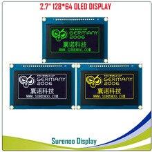 """Écran OLED réel, 2.7 """"128*64 12864 écran daffichage graphique Module LCD écran LCM contrôleur SSD1325 Support parallèle SPI"""