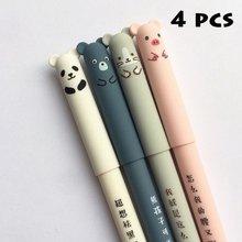 4 шт., бархатная гелевая ручка с изображением животных, кошек и медведей, школьные и офисные ручки с синими чернилами 0,38 мм