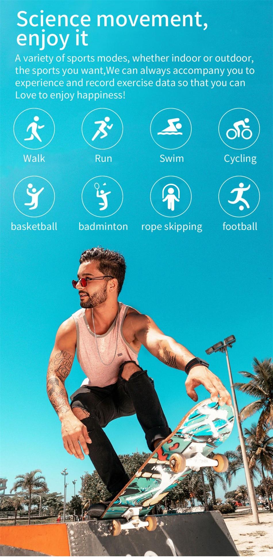 H89d44991be0f42beab27bbdb7b2a71baF New Smart Band Watch Fitness Tracker Bracelet Waterproof Smartwatch Heart Rate Monitor Blood Oxygen LED Screen For Huawei Xiaomi