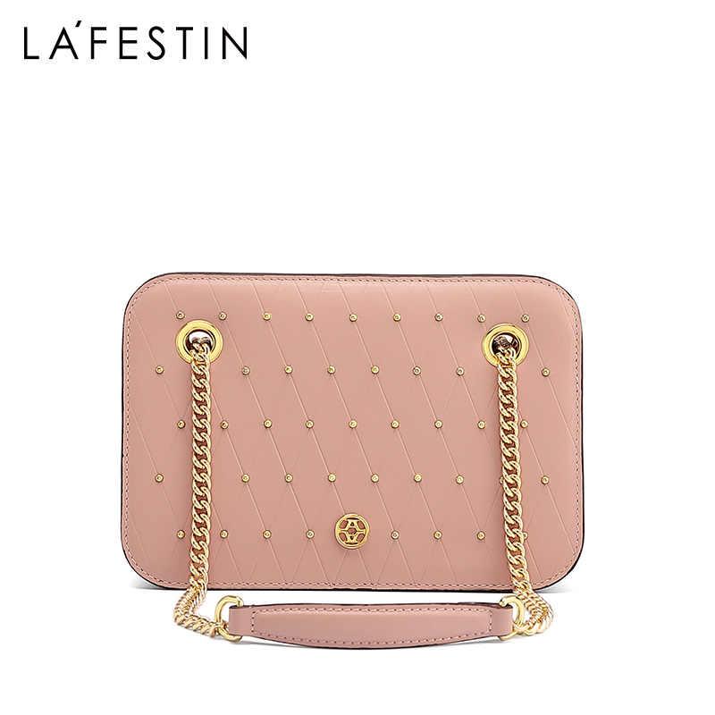 Lafestin 2020 nova moda couro bolsa de ombro rebite órgão saco do mensageiro corrente pequenos sacos quadrados das mulheres