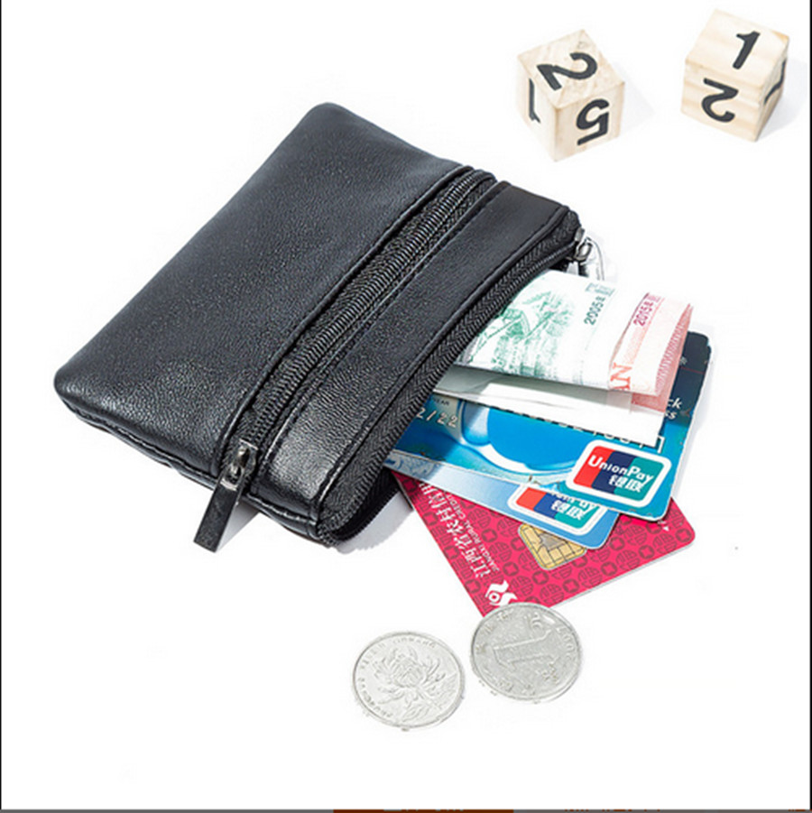 Hot Fashion Men's Leather Mini Coin Purse Casual Waterproof Multi-Zip Waist Bag Faux Leather Key Case New