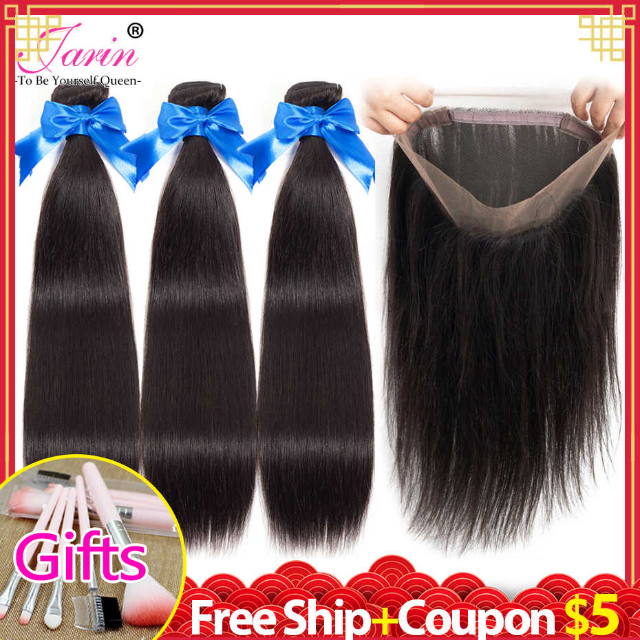 3 Bundles Hair Weave With 360 Lace Frontal Closure Pre Plucked Brazilian Straight Hair Lace Front Natural Color Remy Jarin Hair