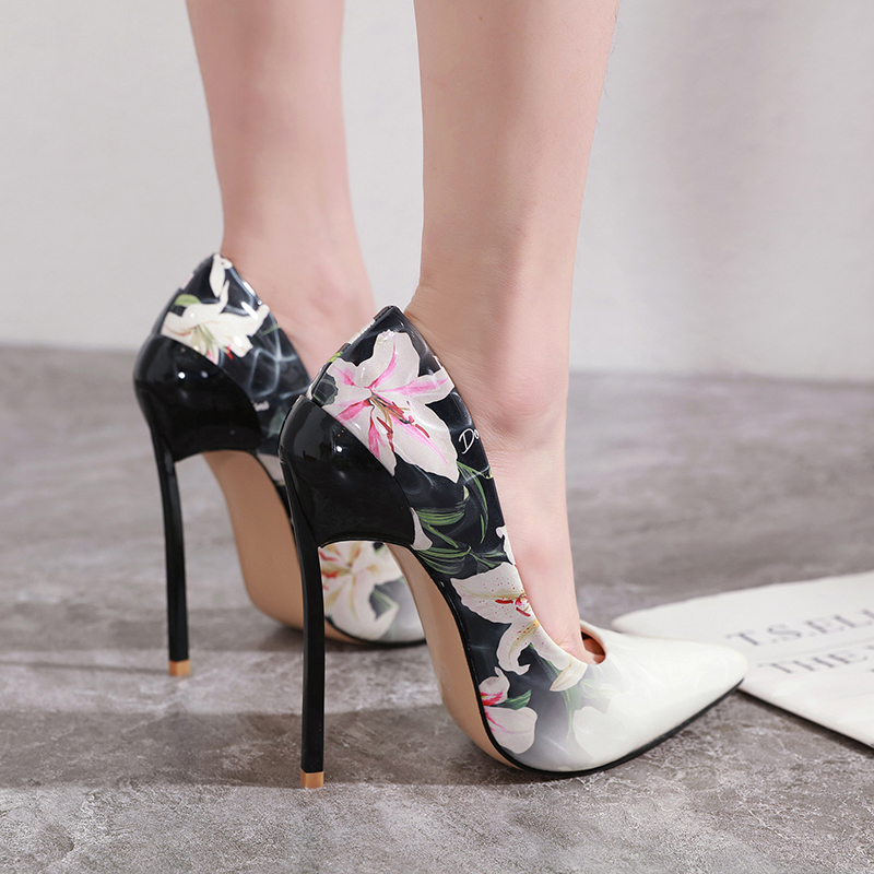 European Fashion Flower High Heel Sandals Pointed Toe Thin Heel Women's Sandals