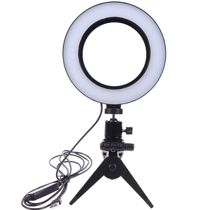 Image 1 - Photography LED Selfie Ring Light 16CM Dimmable Camera Phone Ring Lamp 6inch With Table Tripods For Makeup Video Live Studio