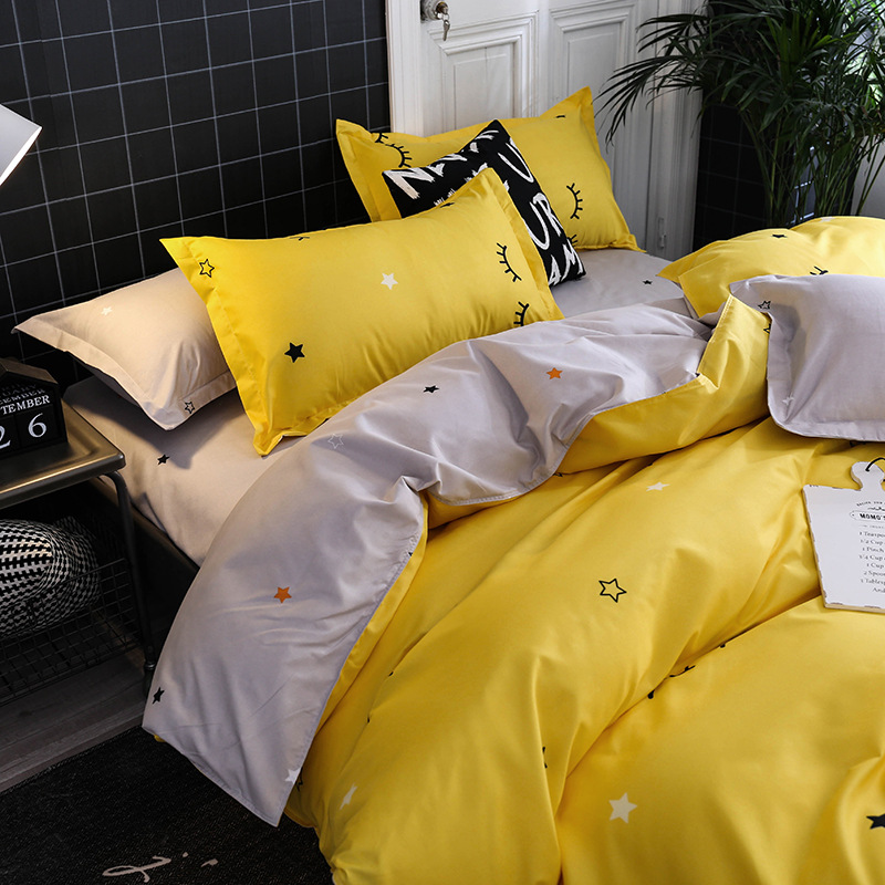 3D Bed Set Home Textile Yellow Gray Eye Simple Bedding Sets Duvet Cover Pillowcase Flat Sheet Boy Teen Adult Girls Bed L