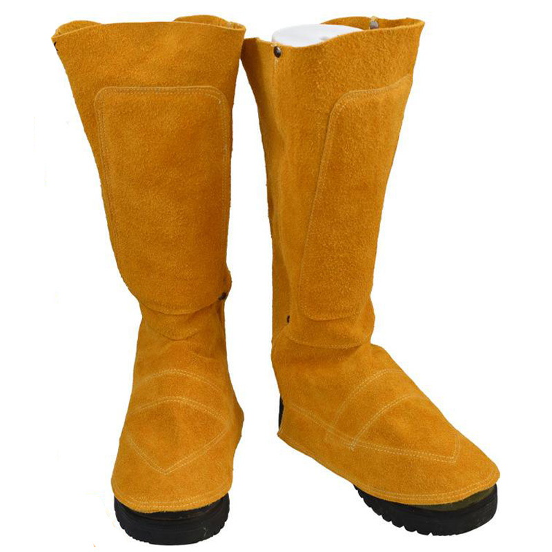 Workplace Welding Leather Long Shoes Boots Leather Welding Fire Protection Foot Leggings Welder Foot Cover Wear Insulation DXB02