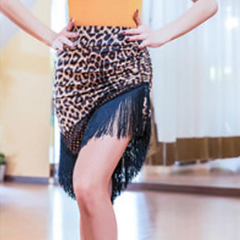 Новинка, Латинская полуюбка для женщин, ча-румба-Самба, сексуальная леопардовая юбка с бахромой для танцев, для женщин, для взрослых, для выступлений, для тренировок, латино платье - Цвет: Leopard skirt