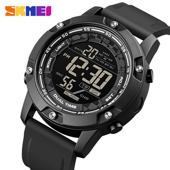 SKMEI Strong Waterproof 100M Sport Digital Army Mens Watch Silicone Strap Stopwatch LED Electronic Wrist Watch Male Black