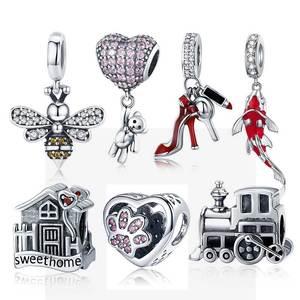 925 Sterling Silver Heart Charm Bear Beads Fit Original 3mm Bracelets DIY Pendant Charm Jewelry Making C1054
