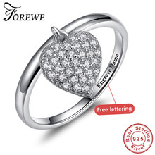 FOREWE 925 Sterling Silver Glittering Heart Clear CZ Anel Female Ring Women Wedding Engagement Jewelry(China)