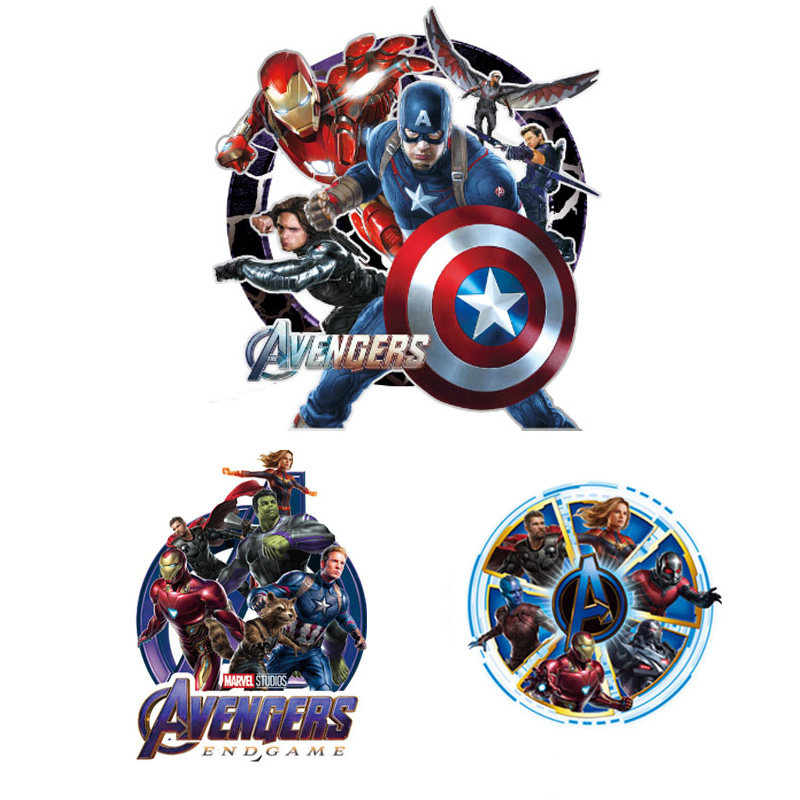 Cartoon Marvel Thermal <font><b>Patch</b></font> Hero Superman <font><b>Ironman</b></font> Iron On Transfer <font><b>Patches</b></font> For Clothes Stickers For T-shirt <font><b>Patch</b></font> Accessories image