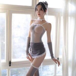 Vedere attraverso Sexy Delle Donne Tentazione di Pulizia Cosplay Scava Fuori Grembiule Gioco di Ruolo Costumi Esotici Vedere Attraverso Mesh Uniformi del Costume della Domestica
