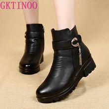 GKTINOO 冬の靴女性のブーツ本革ウェッジヒールノンスリップ女性のブーツ大サイズ母ウォームブート famale 雪のブーツ