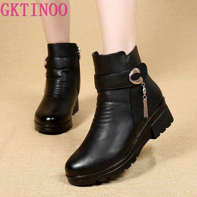 GKTINOO ฤดูหนาวรองเท้าผู้หญิงรองเท้าหนังแท้ส้นลื่นรองเท้าสตรีขนาดใหญ่แม่ WARM BOOT famale Snow BOOTS