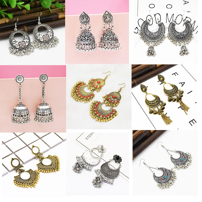 New Big Round Traditional Indian Bell Ladies Drop Earrings Women Gypsy Tassel Dangle Pakistani Jewelry Vintage earrings