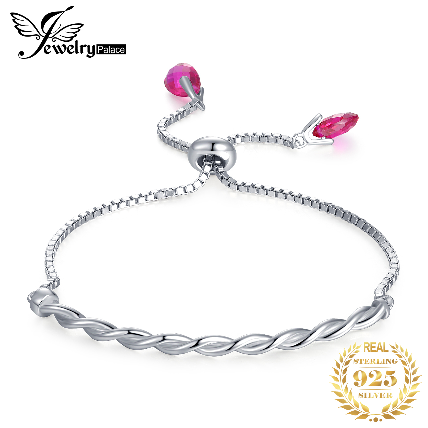 JewelryPalace Purple Created Ruby Twisted Braided Adjustable Bangle Bracelet 925 Sterling Silver For Women As Gifts