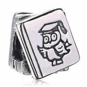 Nouveau 925 argent Sterling perle breloque Vintage hibou docteur étude livre perles ajustement Pandora Bracelet Bracelet bijoux à bricoler soi-même