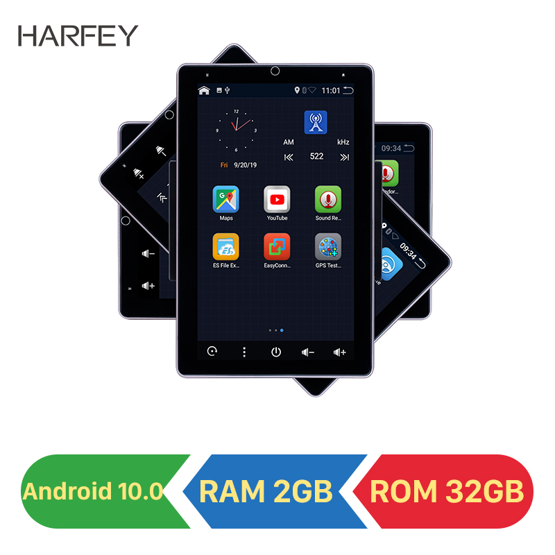 Harfey 10.1inch <font><b>Android</b></font> 10.0 <font><b>Universal</b></font> car <font><b>Radio</b></font> HD 180° Rotatable Screen RAM 2GB ROM 32GB GPS Car Multimedia support Carplay image
