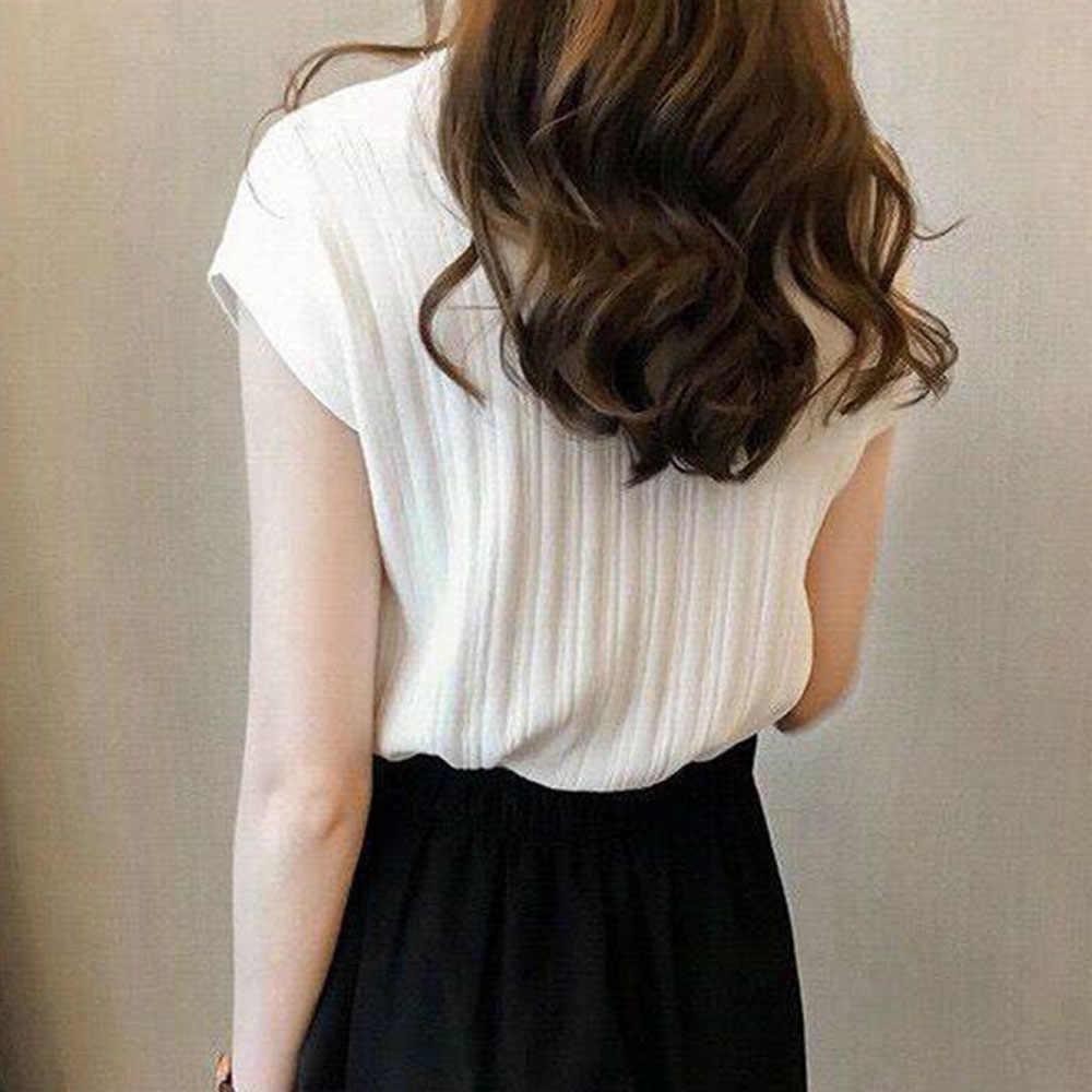 2020 automne été glace soie tricoté hauts à manches courtes solide brillant bureau dame casual soie chemises automne coréen japon vêtement tricoté fin