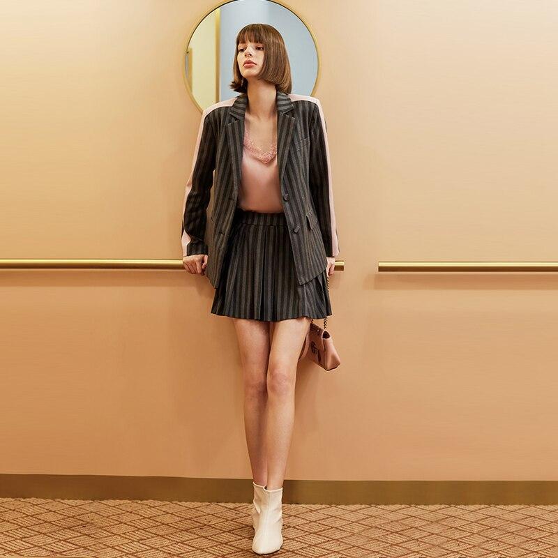 AEL Autumn Winter Long Sleeve Blazer Woman Jacket Coat Women Outwear Plaid Short  Skirts Suits Ladies 2 Pieces Sets Women Set