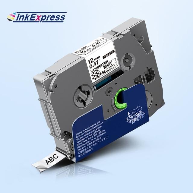 Bandes de sécurité 12mm TZe SE3 bande détiquettes stratifiées TZ-SE3 noir sur ruban dimprimante blanc tzeSE3 pour le fabricant détiquettes tactiles Brother P