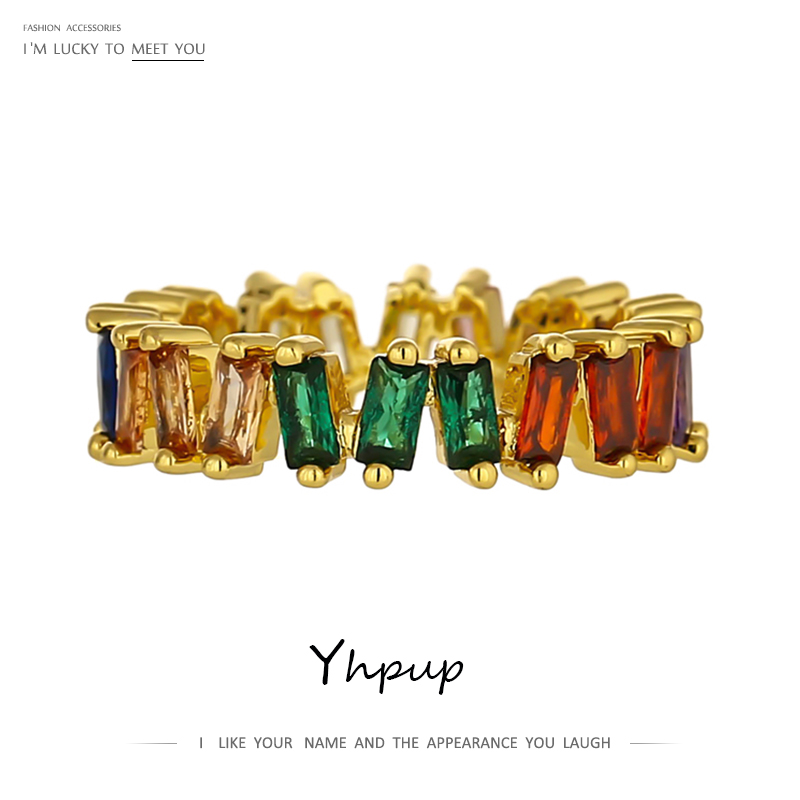 Yhpup Rainbow Color Rings Cubic Zircon Copper Fashion Trendy Jewelry for Female Wedding Party Geometric Ring Christmas Gift