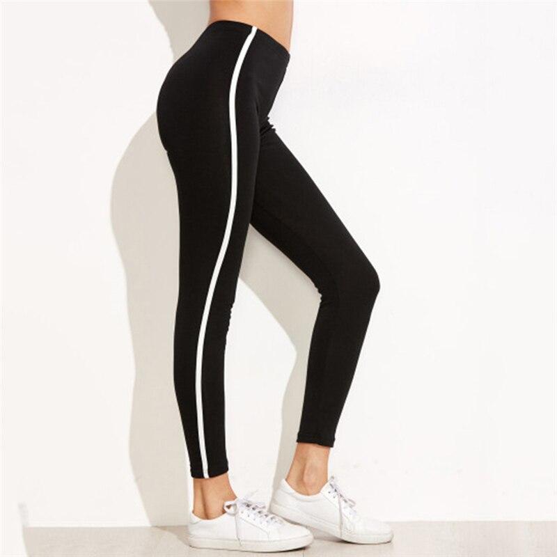 Hitam Santai Celana Legging Wanita Sisi Putih Garis Warna Solid Celana Legging Wanita Legging Aliexpress